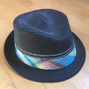 Other - Black hat with plaid madras band